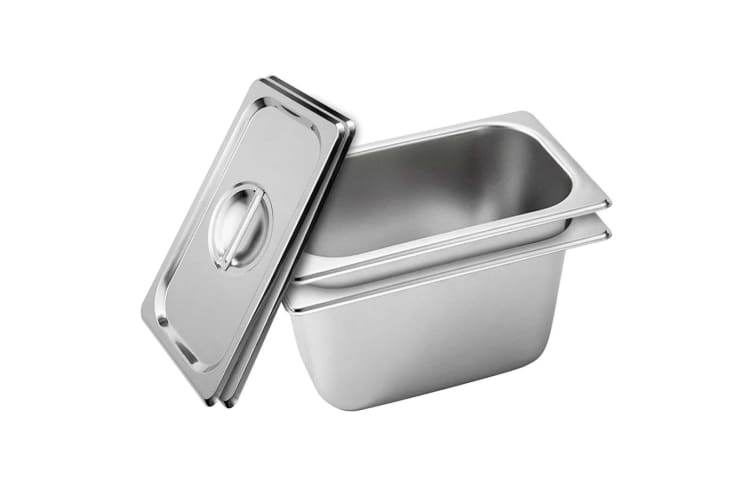 SOGA 2x Gastronorm GN Pan Full Size 1/3 GN Pan 150mm Stainless Steel Tray w/ Lid