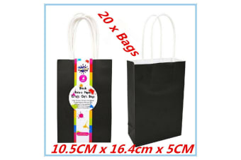 20 x Small Kraft Paper Gift Carry Wedding Party Boutique Bags Black Color Bag w Handle