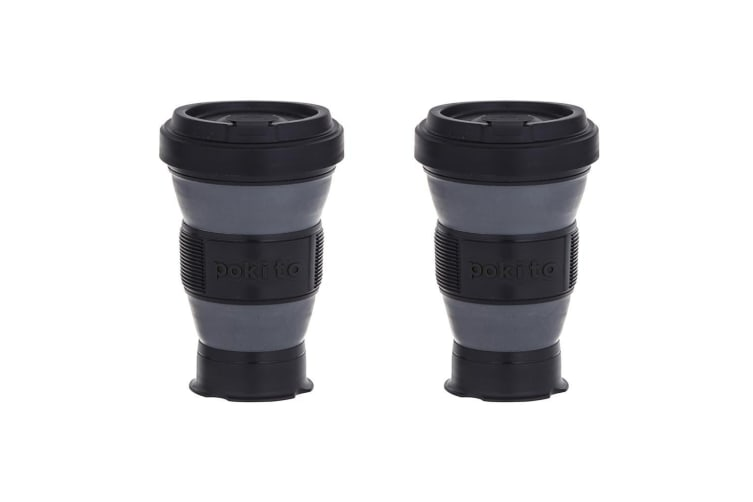 2x Pokito 475ml Hot Cold Pop Up Cup Collapsible Reusable Travel Eco-Friendly BLK