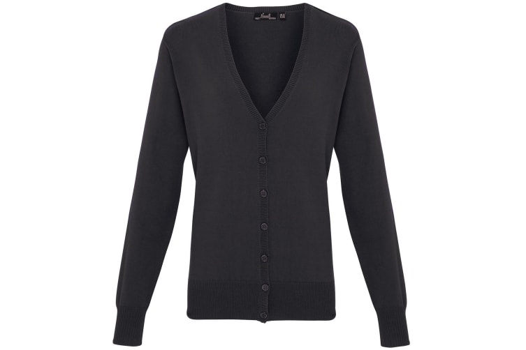 Premier Womens/Ladies Button Through Long Sleeve V-neck Knitted Cardigan (Charcoal) (14)