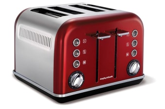 Morphy Richards 242020 Red Chrome Accents Four 4 Slice Toaster Stainless Steel