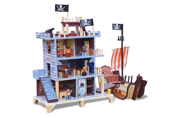 ROVO KIDS Wooden Pirate's Cove Play Set Children's Ship Boat Toy Playset