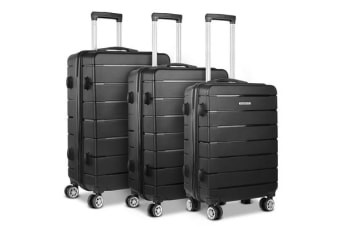 Wanderlite 3PC Luggage Suitcase Trolley (Black)