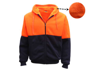 HI VIS Safety Full Zip Thick Sherpa Fleece Hoodie Workwear Jacket Jumper Winter - Fluro Orange / Navy
