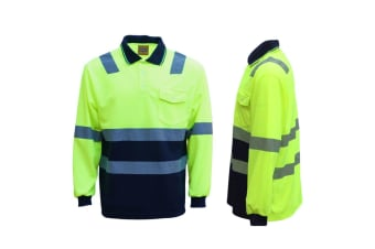 HI VIS Long Sleeve Workwear Shirt w Reflective Tape Cool Dry Safety Polo 2 Tone - Fluoro Yellow /Navy