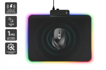 Kogan PowerFlow Wireless Charging Gaming Mouse & RGB Wireless Charger Mouse Pad