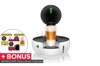 NESCAFE Dolce Gusto Drop Automatic Capsule Coffee Machine with BONUS 48 Capsules - White (NCU700WHT)