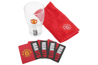 Manchester United FC Official Wordmark Mini Football Bar Set (Pint Glass  Towel & Beer Mats) (Red/Black)