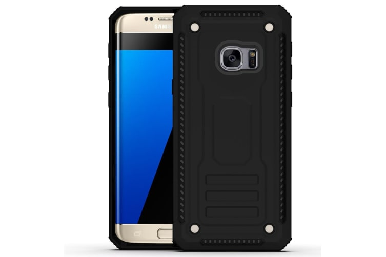 big sale 4d711 94954 For Samsung Galaxy S7 EDGE Case Armour Strong Shockproof Thin Tough Cover  Black