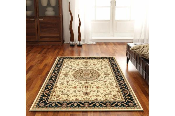 Medallion Rug Ivory with Black Border 290x200cm