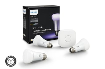 Philips Hue E27 Lighting Starter Kit with 3 x 10W LED Globes & Wireless Bridge - (Damaged Packaging)