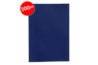200PK Rexel A4 300gsm Leather Grain Finish Binding Cover/Report Folder Navy Blue