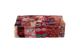 vidaXL Patchwork Pouffe Square Cotton Handmade 50x50x12 cm Red
