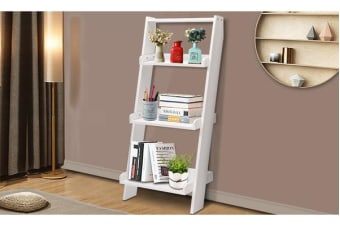 3 Tier Wooden Wall Rack Leaning Ladder Shelf Unit Bookcase Display Home Decor WHITE