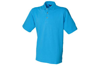Henbury Mens Classic Plain Polo Shirt With Stand Up Collar (Surf Blue)