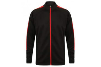 Finden & Hales Mens Knitted Tracksuit Top (Black/Red)