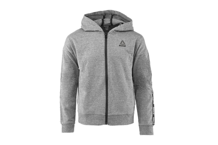 Reebok Girls' Active Full Zip Hoodie (Heather Grey, Size 6)