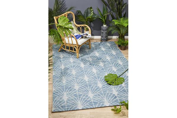 Wyatt Blue & Natural Geometric Coastal Rug 230 x 160cm