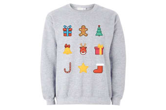 The T-Shirt Factory Mens Christmas Emoji Icons Jumper (Grey) (S)