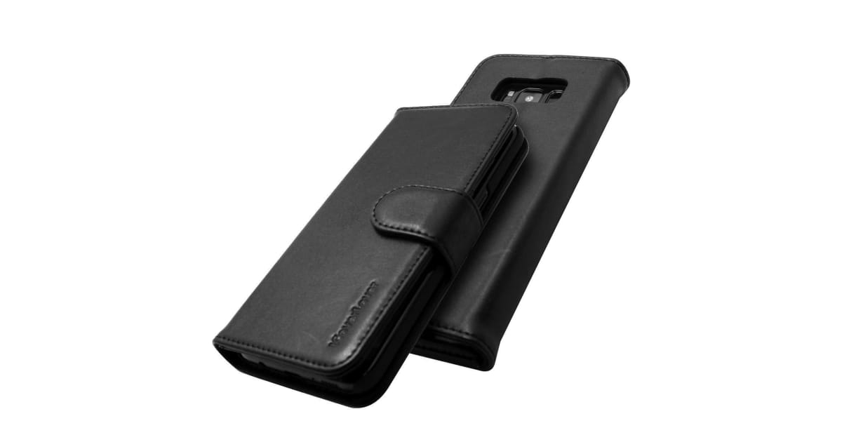 best service 9827e aa505 For Samsung Galaxy S8 Wallet Case iCL Real Top-grain Cow Leather Cover  Black   Phone Cases