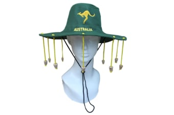 New Aussie OZ Cork Hat Australian Souvenir Adult Crocodile Dundee Costume - Green w Gold embroidery - 0