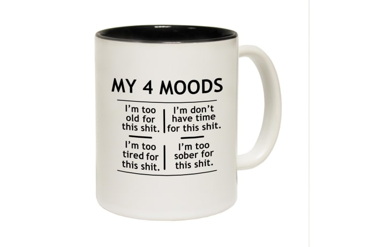 123T Funny Mugs - My 4 Moods - Black Coffee Cup