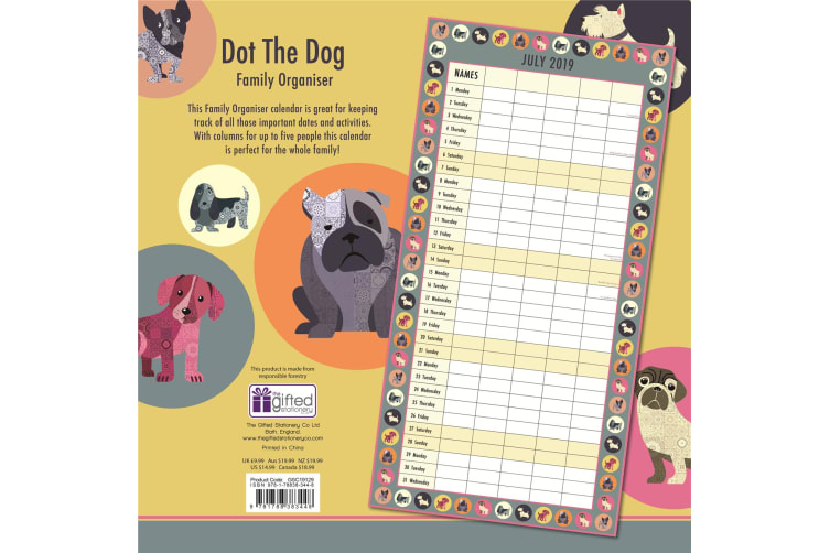 Dot the Dog 2019 Premium Square Wall Calendar 16 Months New Year Xmas Decor Gift