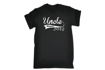 123T Funny Tee - 212 Uncle Since - (Small Black Mens T Shirt)
