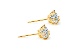 Women 18K Gold layered 9mm Stud Earrings Star Solitaire w/Swarovski Crystal