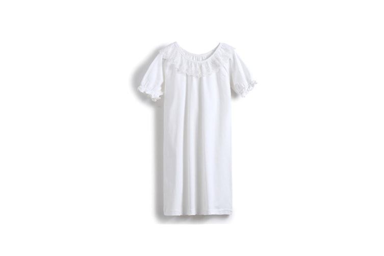 Girl'S Nightgowns Round Collar Sleepwear Cotton Puff Lace Princess Nightdress - White White 130Cm