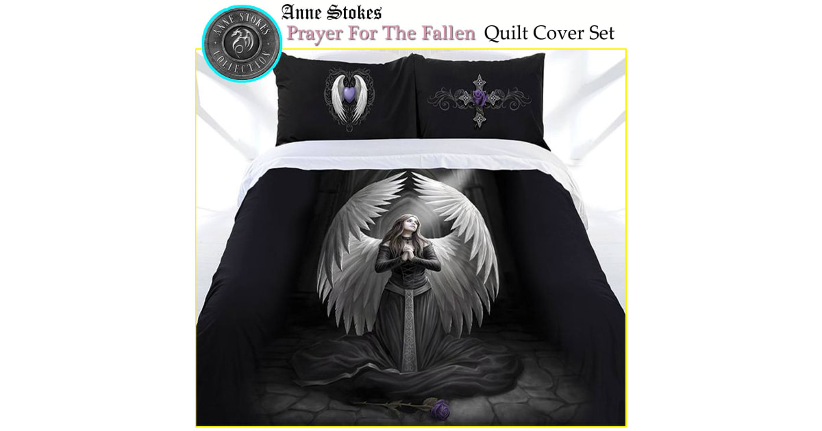 Anne Stokes Prayer for the Fallen Quilt Doona Duvet Cover Set Gothic Dark Angel
