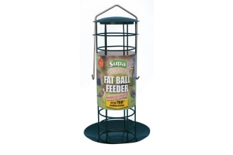 Supa Premium Fat Ball Bird Feeder With Tray (Green) (One size)