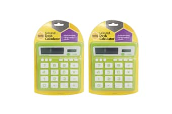 2PK Marbig Coloured Desk Calculator Green