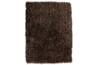 Metallic Noodle Shag Rug Dark Brown