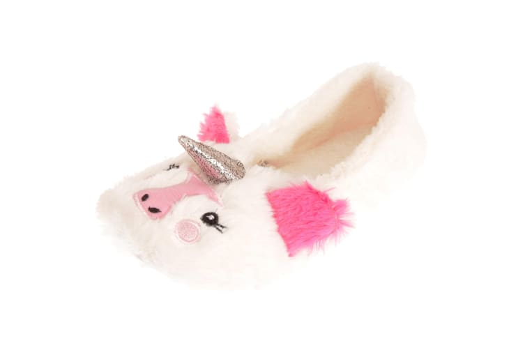Forever Dreaming Womens/Ladies Faux Fur Unicorn Slippers (White) (3/4 UK)