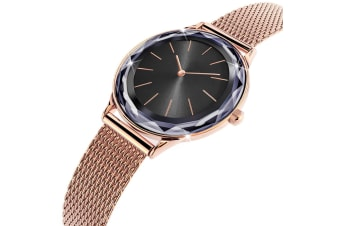 Bullion Gold Women's Geometic Mineral Glass Watch Black-Rose Gold/Black