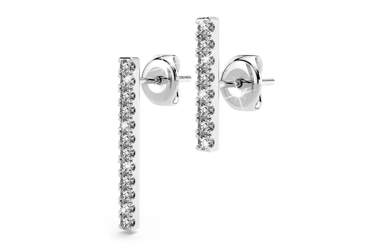 .925 Asymmetric Bar Stud Earrings-Silver/Clear