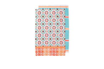 Ladelle Fiesta Tile Kitchen Towel 2pk