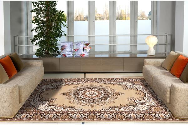Traditional Pattern Medallion Rug Beige 280x190cm