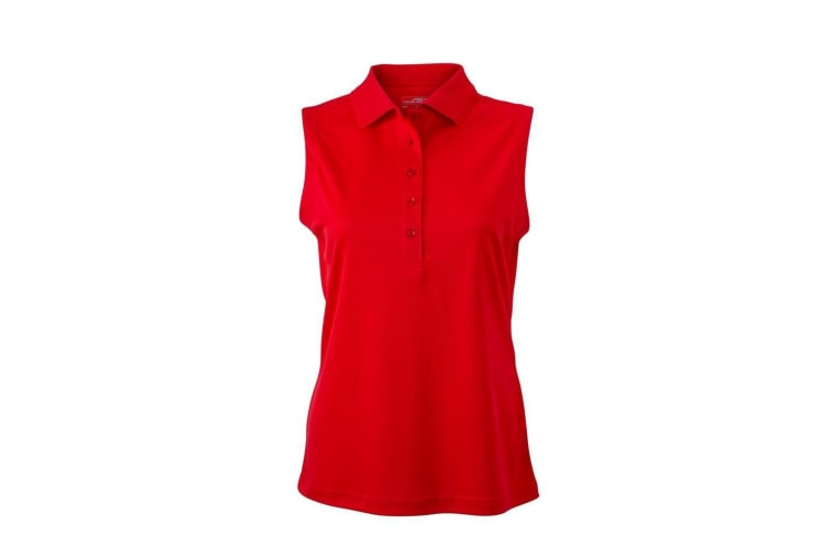 James and Nicholson Womens/Ladies Active Sleeveless Polo (Red) (XXL)