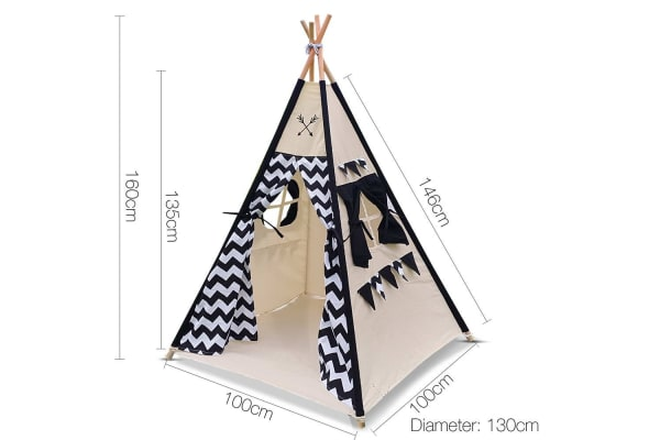 4 Poles Teepee Tent with Storage Bag (Black)