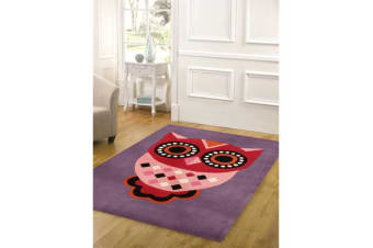 Gorgeous Purple Owl Kids Rug 165x115cm