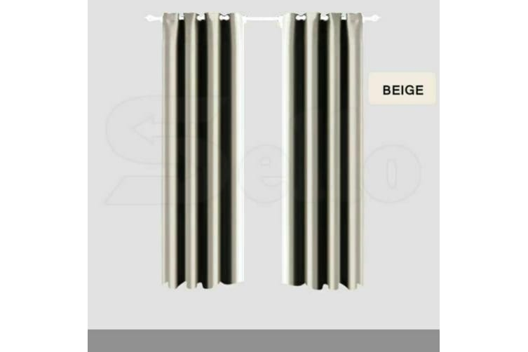 2X Blockout Curtains Panels Blackout 3 Layers Eyelet Room Darkening Pure Fabric  -  Beige180x213cm