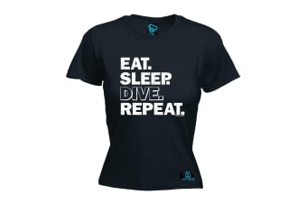 Open Water Scuba Diving Tee - Eat Sleep Dive - (Medium Black Womens T Shirt)