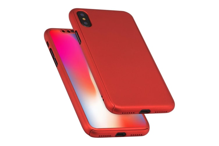 For iPhone XS Max Case Red 360 Degree Full Cover PC Cover Tempered Glass Film