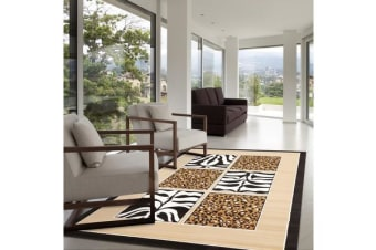 African Print Black and Off White Rug 280x190cm