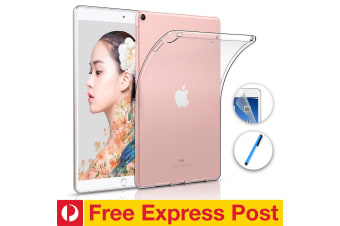 """Apple iPad 10.2"""" (2019) Crystal Clear Transparent Ultra Slim Soft TPU Gel Back Case by MEZON – With Screen Protector and Stylus (iPad 10.2"""", Gel) – FREE EXPRESS"""