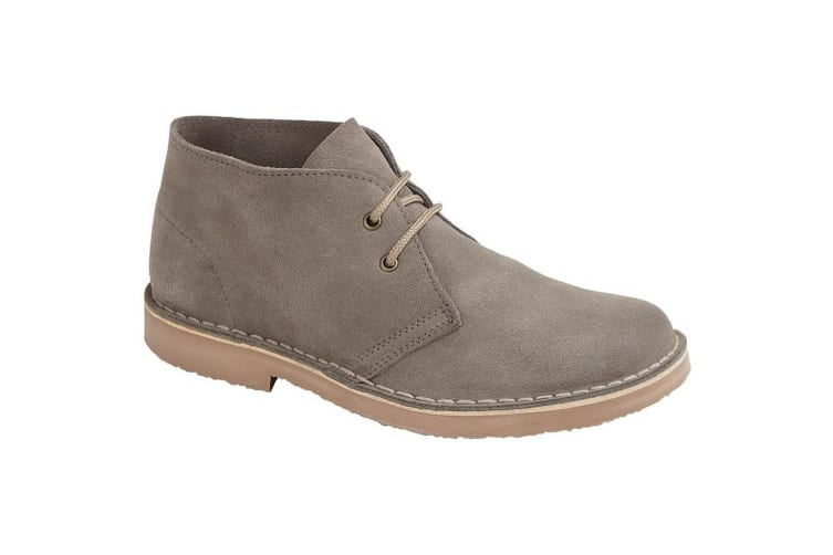 Roamers Mens Suede Leather Round Toe Desert Boot (Grey) (6 UK)