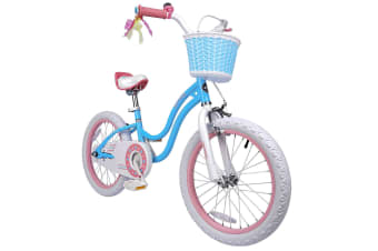 RoyalBaby Girls Kids Bike Stargirl 18'' Bicycle Child's Bikes with Basket 18 inch incl Kickstand Blue