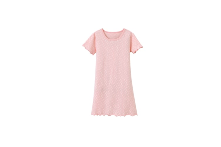 Nightgowns For Girls Cotton Pajamas Dresses Short Sleeve Pink Pink 150Cm